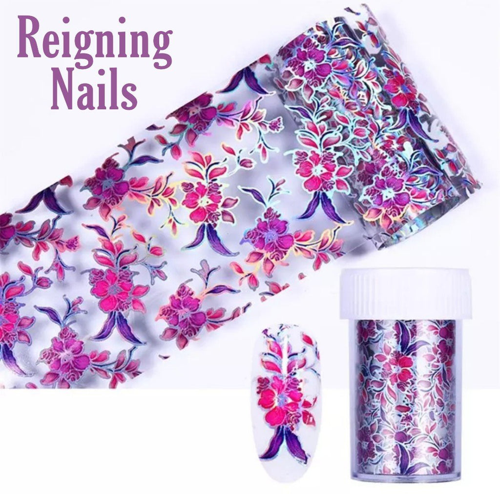 Holo Purple Flower Pattern Nail Foil
