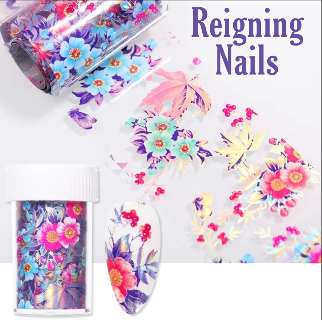 Holo Colorful Flower Pattern Nail Foil