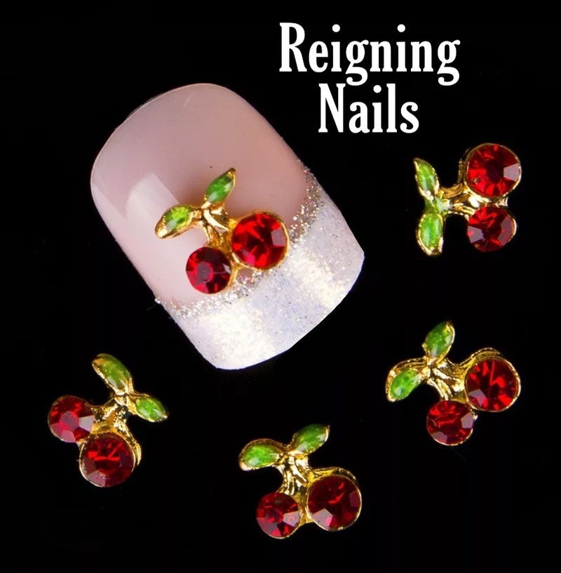 Crystal Cherry Nail Charms