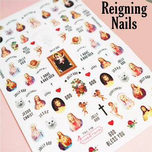 Neon Mary & Angels Nail Stickers