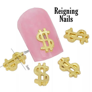 Gold Dollar Sign Nail Charm