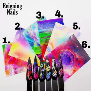 Abstract Rainbow Leaf Nail Stickers