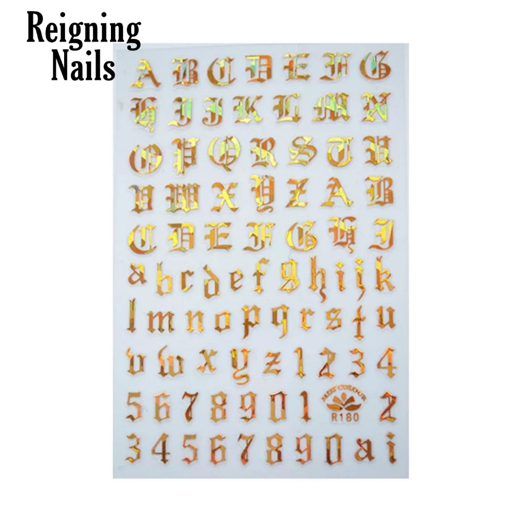Gold Holo Old English letters Nail Stickers