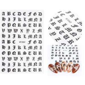 Small Old English Alphabet Nail Stickers
