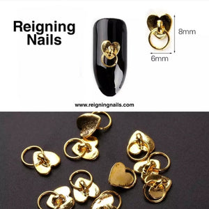 Gold Heart Knocker Nail Charms