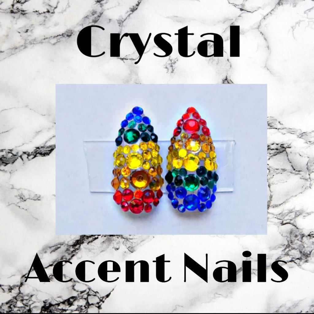 2 Rainbow Crystal Accent Nails