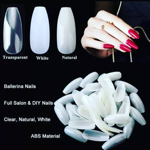 Long Coffin Acrylic Full Coverage Nails 500pcs