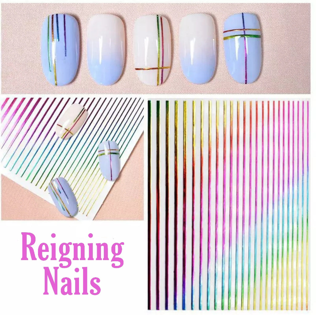 Rainbow Stripes Nail Stickers
