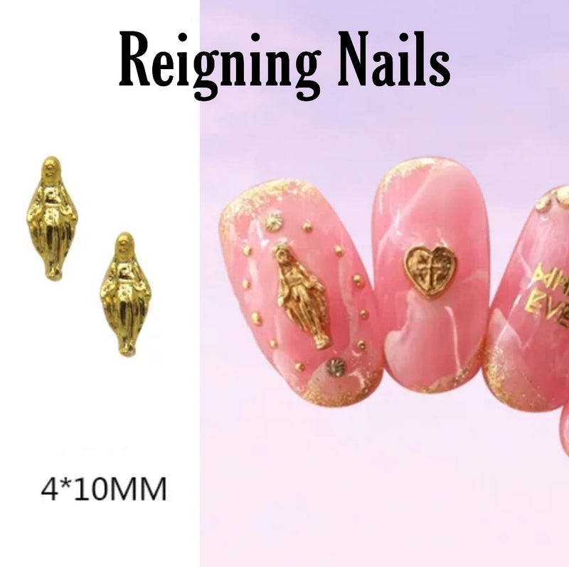 Gold Virgin Mary Nail Charms