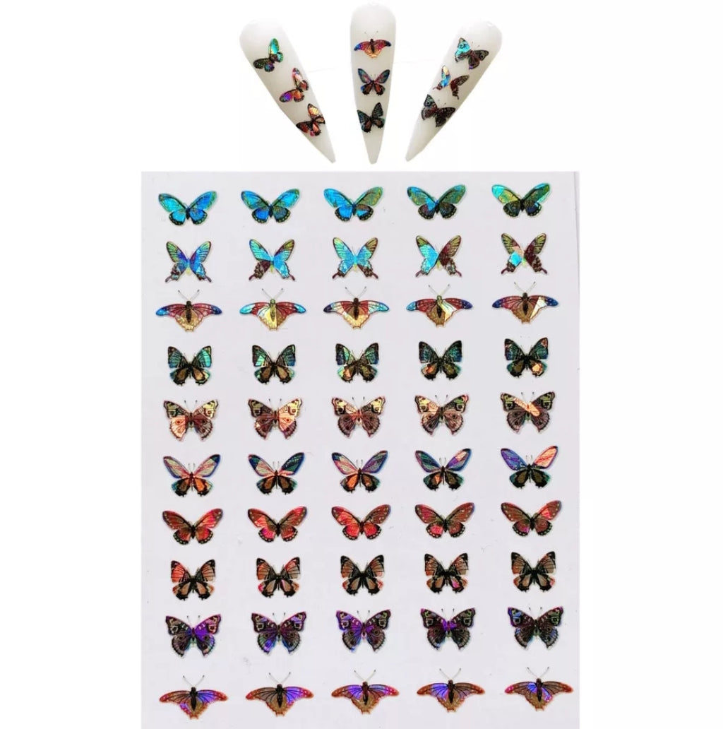 Iridescent Butterfly Nail Stickers No.2