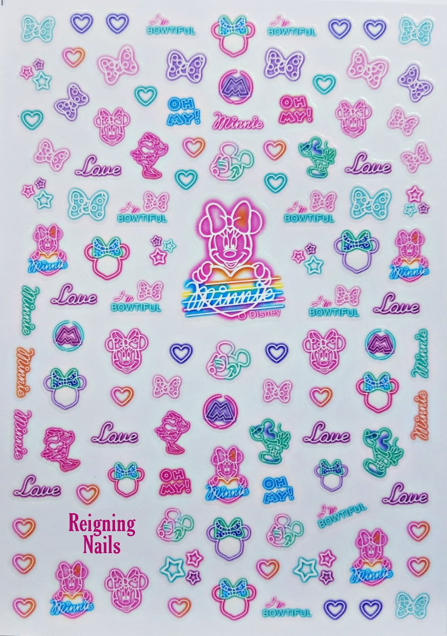 Neon Minnie Nail Stickers