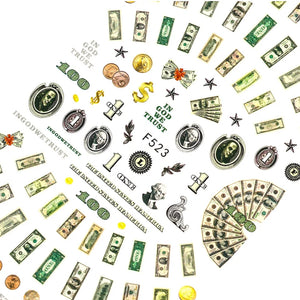 Dollar Bill Nail Stickers