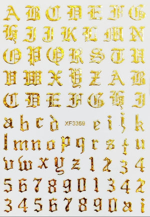 Old English Alphabet & Numbers Nail Stickers