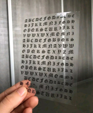 Large Old English Alphabet Nail Stickers