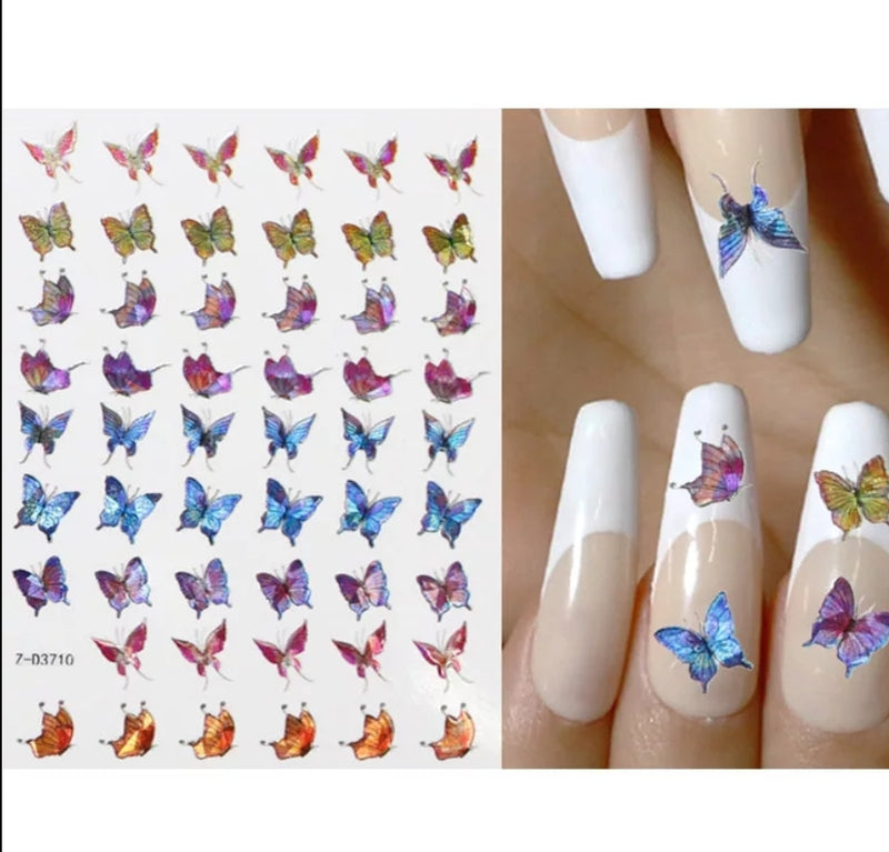 Iridescent Butterfly Nail Stickers No.10