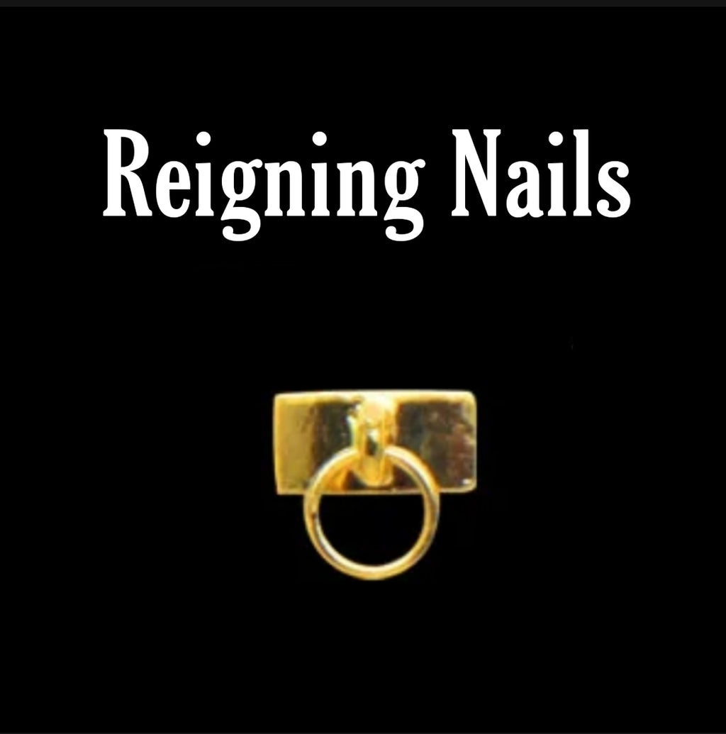Gold Rectangle Knocker Nail Charms