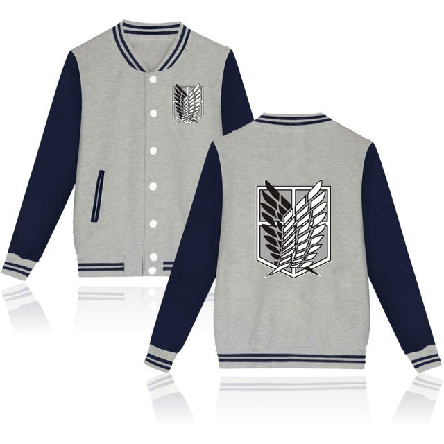 Attack on Titan Letterman Jacket Style 1 (Gray/Blue)