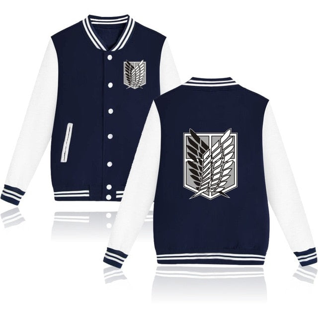 Attack on Titan Letterman Jacket Style 1 (Navy Blue/White)
