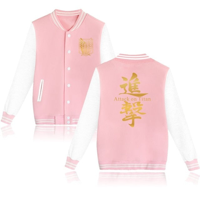 Attack on Titan Letterman Jacket (Pink/White)