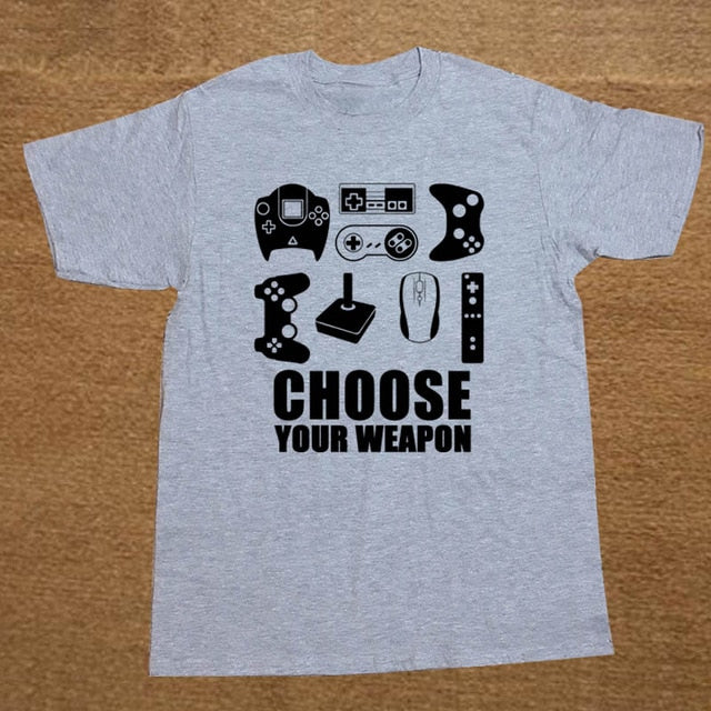 Choose Your Weapon Gamer T Shirt (Gray/Black)