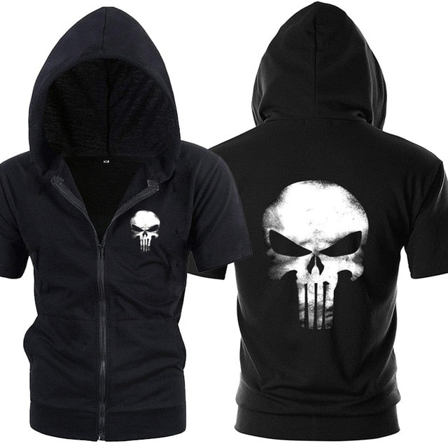 Punisher Short Sleeve Hoodie (Black)