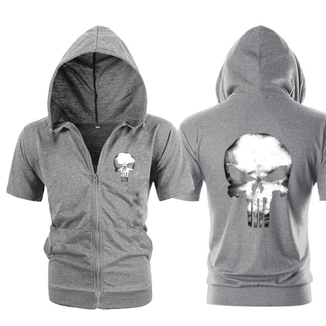 Punisher Short Sleeve Hoodie (Grey)