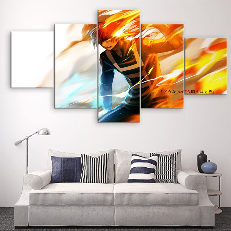 On the Attack Todoroki Canvas Painting