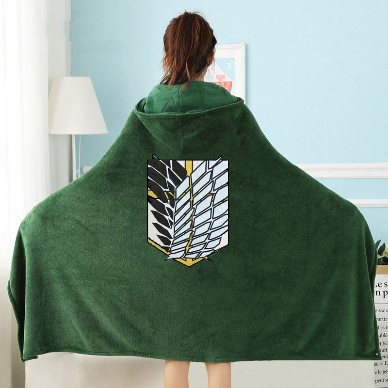 Attack on Titan Scout Regiment Wearable Throw Blanket With Hood