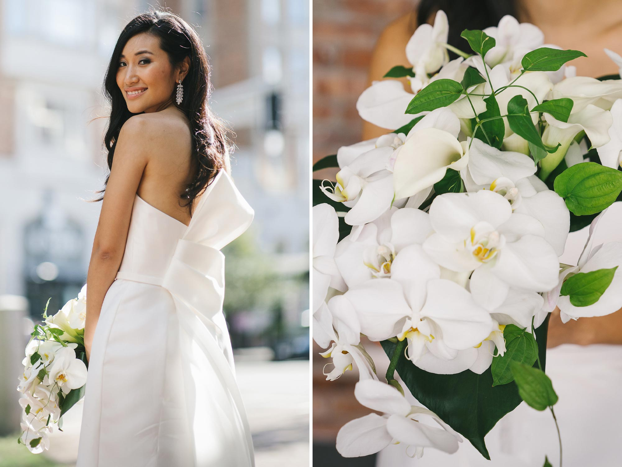Dramatic Bow Wedding Dress with Orchid Bouquet