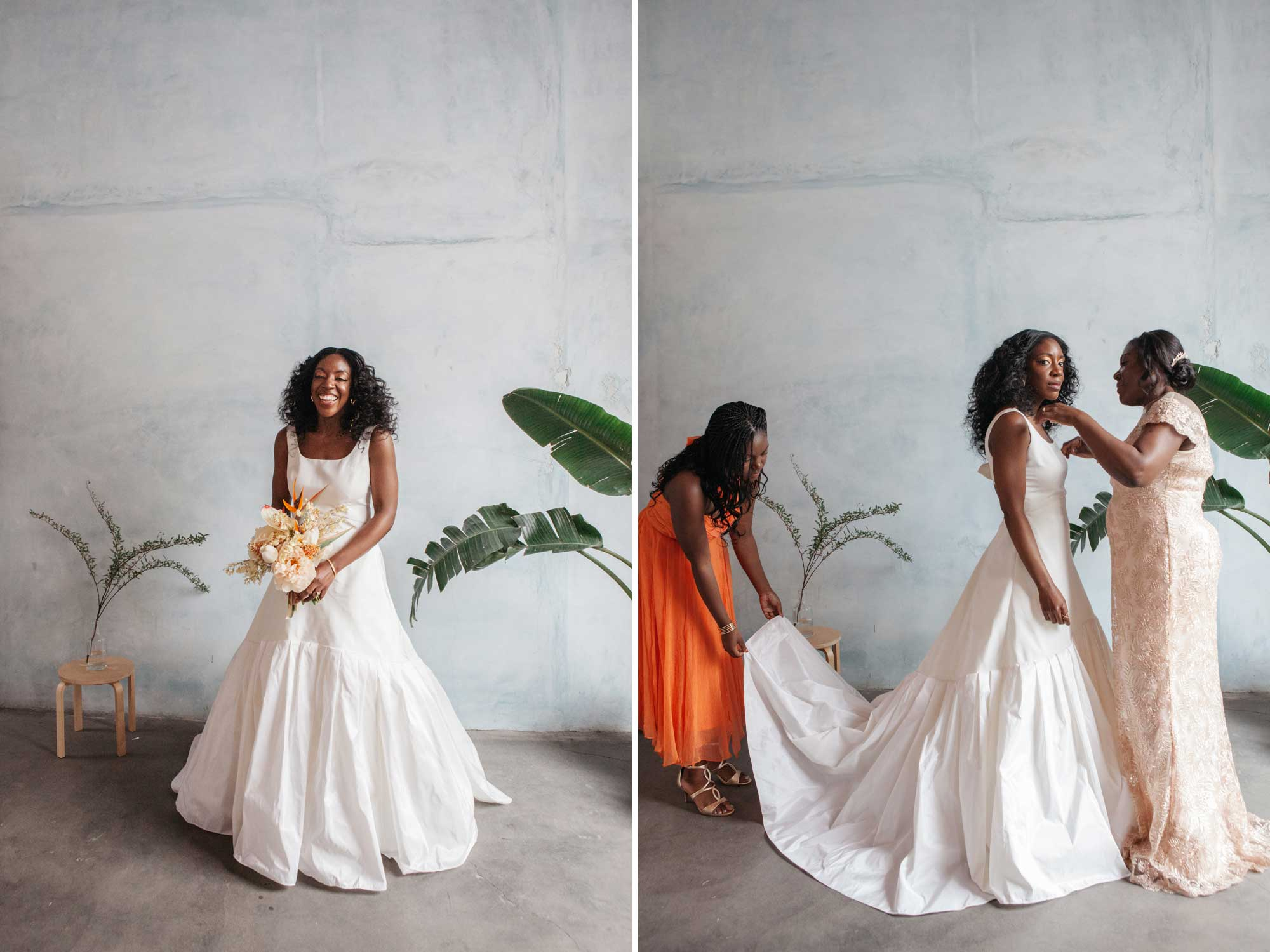 Faille A-line Gown with Gathered Tiers
