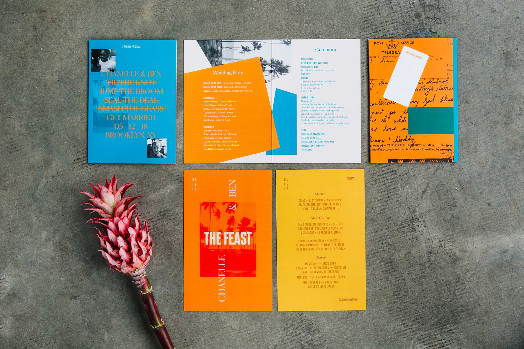 Orange, Red, and Bright Blue Colorful Wedding Invitations