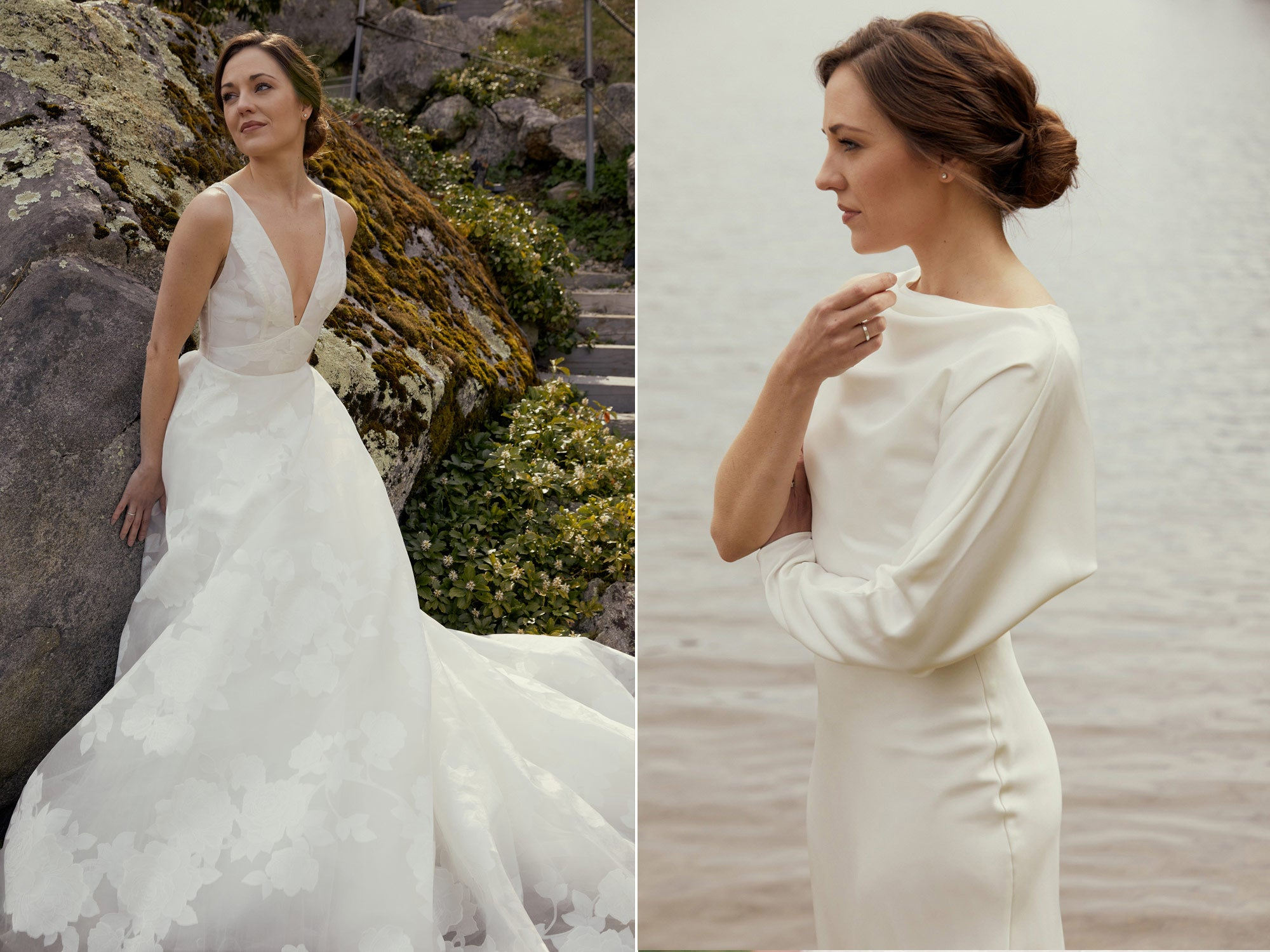 Nouvelle Amsale Bridal Wren Little White Dress LW168 Long Sleeves Laura Osnes
