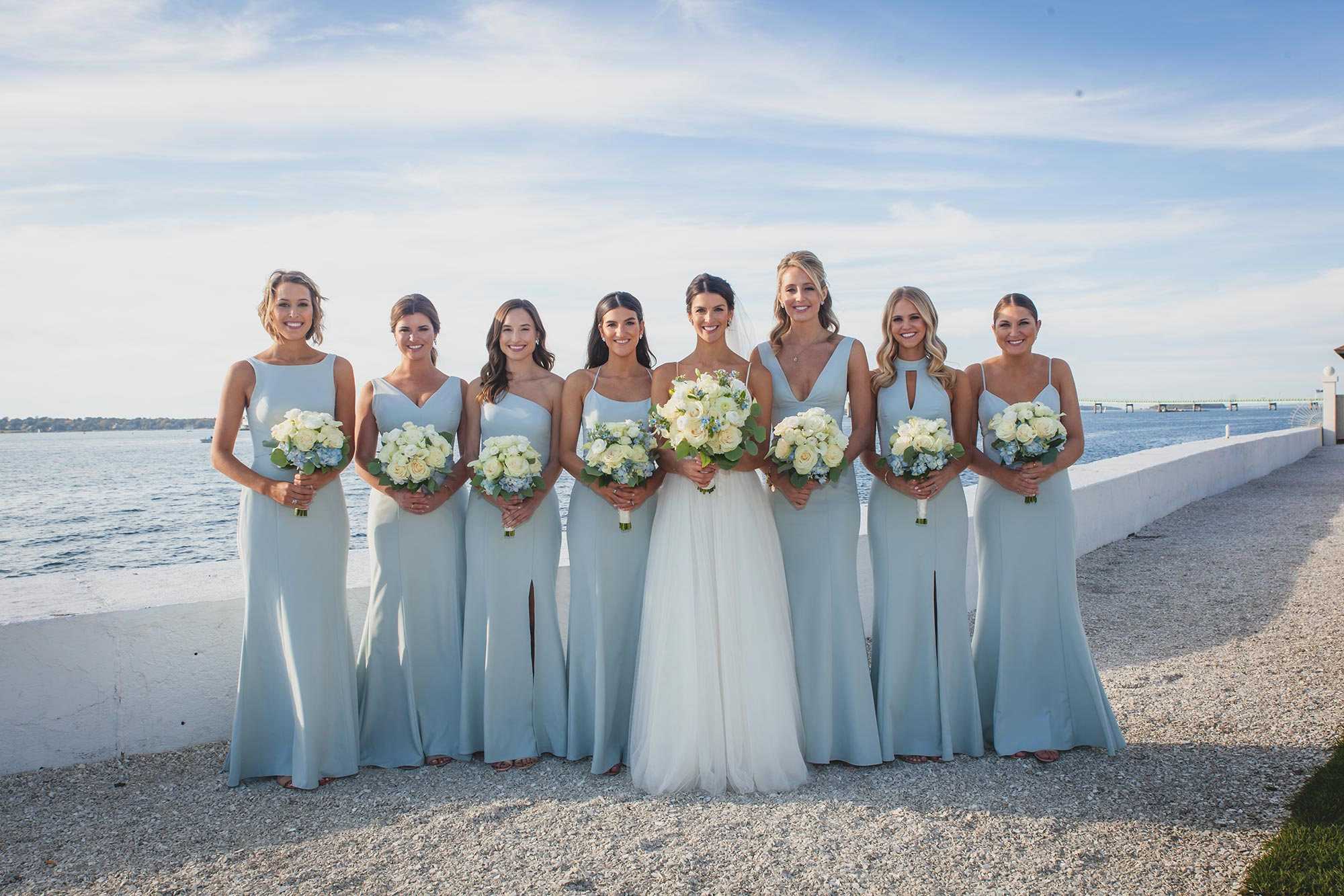 "Nouvelle Amsale ""Bryce"" Vintage Ice Bridesmaids Oceanfront Wedding"