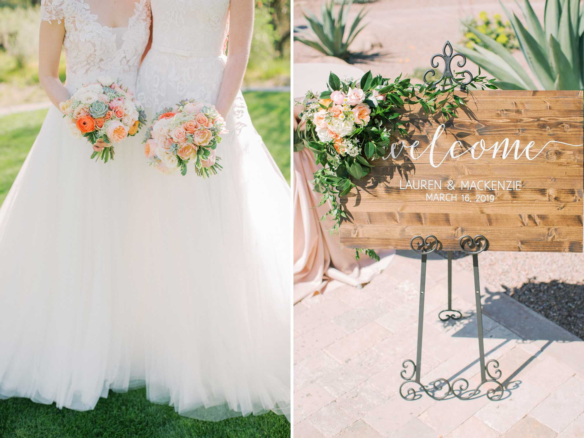 Summer Rose Bouquets and Wedding Reception Sign
