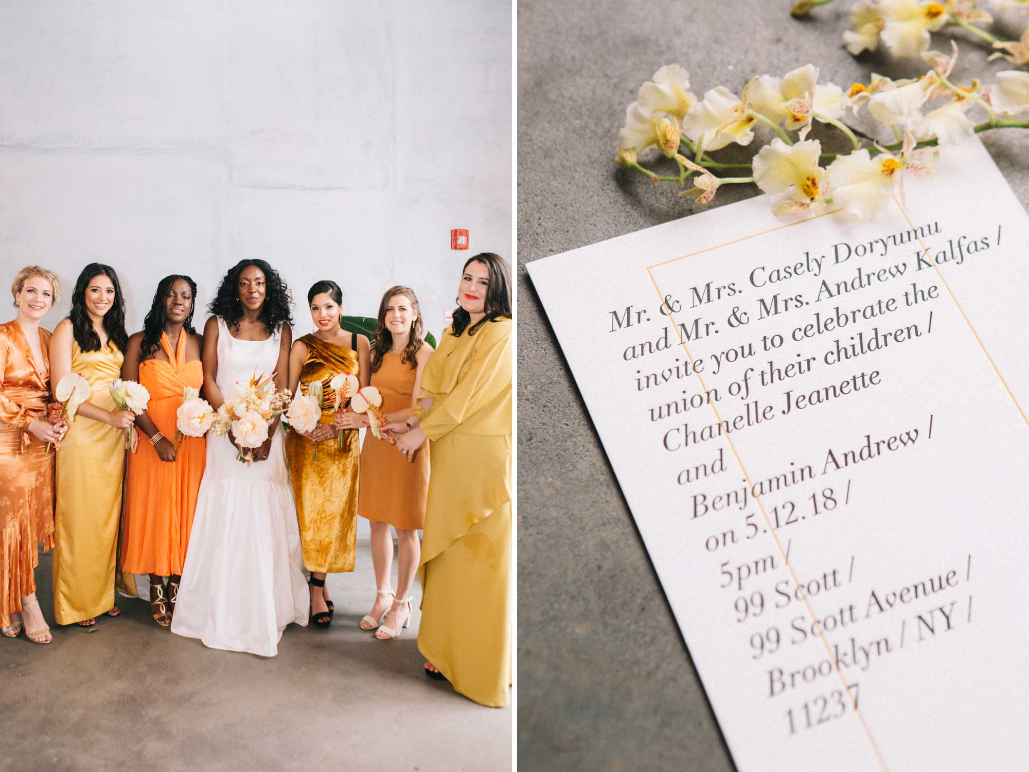 Faille A-line Gown with Gathered Tiers and Mix Match Orange Bridesmaids Dresses