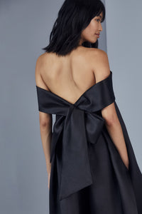 P370M - Bow back trapeze dress