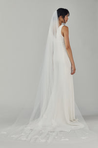 R237U - Cathedral length veil with lace