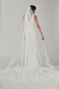 R326V - Cathedral length veil with wide lace border