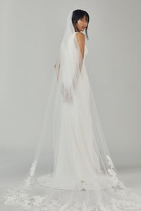 R364V - Cathedral length veil with sequin lace border