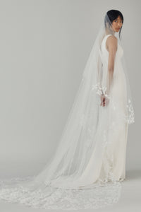 R359V - Butterfly Cathedral length drop veil with Sakura blossoms