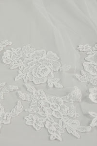 R293U - Cathedral length veil with rose lace
