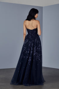 P375 - Embroidered tulle strapless gown