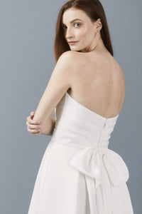 LW179 - Faille strapless bow dress