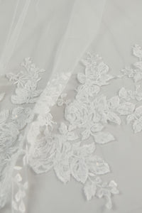 R271DV - Cathedral length veil with lace border