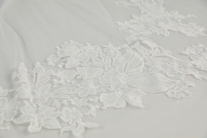 R309V - Cathedral length veil with confetti lace