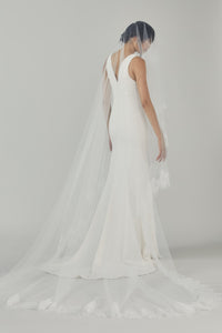 R327 - Butterfly Cathedral length veil with ivy lace edge