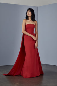 P367A - Faille strapless gown