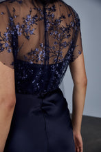 Load image into Gallery viewer, P378 - Sequin embroidered fluid satin gown