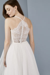 LW176 - Lace back tea length dress