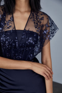 P378 - Sequin embroidered fluid satin gown